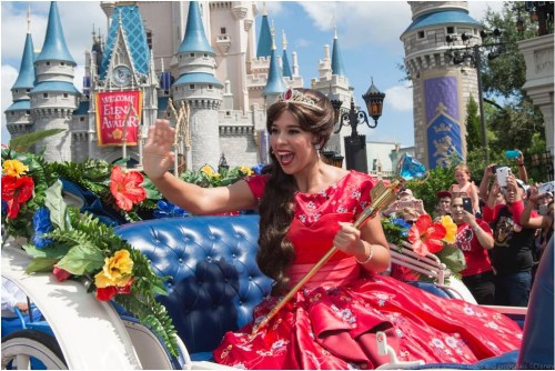 """Princess Elena of Avalor, the first Latin-inspired Disney princess, receives a royal welcome on Aug. 11, 2016 during her arrival at Magic Kingdom Park in Lake Buena Vista, Fla. Princess Elena's arrival at Walt Disney World follows the debut of the new Disney Channel animated series, """"Elena of Avalor."""" The adventurous princess appears daily in """"The Royal Welcome of Princess Elena"""" stage show at Magic Kingdom. (David Roark, photographer)"""