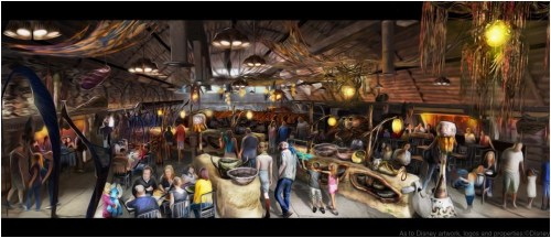 Opening in summer 2017 at Disney's Animal Kingdom, Pandora-The World of Avatar will bring a variety of new experiences to the park, including a family-friendly attraction called Na'vi River Journey and new food & beverage and merchandise locations. Satu'li Canteen, (pictured here) will be the main restaurant in Pandora – The World of Avatar and will feature Na'vi art and cultural items. Disney's Animal Kingdom is one of four theme parks at Walt Disney World Resort in Lake Buena Vista, Fla. (David Roark, photographer)
