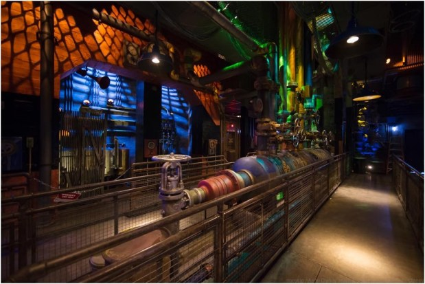 """Guardians of the Galaxy–Mission: BREAKOUT! — Guests will find themselves in the maintenance bay of The Collector's Fortress on their way to board a gantry lift on Guardians of the Galaxy – Mission: BREAKOUT! as they join Rocket in an attempt to set free his fellow Guardians. The epic new adventure blasts guests straight into the """"Guardians of the Galaxy"""" story for the first time, alongside characters from the blockbuster films and comics. As guests join Rocket in his attempt to bust his pals out of The Collector's Fortress, they will experience randomized ride experiences complete with new visual and audio effects and music inspired by the popular film soundtracks. (Joshua Suddock/Disneyland Resort)"""