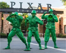 """Sarge and the Green Army Men from the hit Disney•Pixar """"Toy Story"""" films will interact with guests in the new Toy Story Land when it opens June 30 at Walt Disney World Resort. The Green Army Men will """"toy"""" with guests, leading them to a fun and interactive boot camp where potential recruits are tested in their abilities with Pixar balls and oversized crayons. Located at Disney's Hollywood Studios, the new 11-acre Toy Story Land will make guests feel like they have shrunk to the size of a toy in the setting of Andy's backyard. Guests will whoosh along on the family-friendly Slinky Dog Dash roller coaster, take a spin aboard Alien Swirling Saucers and score high on the midway at Toy Story Mania! (Matt Stroshane, photographer)"""