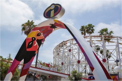 INCREDIBLES PARK IN PIXAR PIER (ANAHEIM, Calif.) - Inspired by ìThe Incrediblesî and ìIncredibles 2,î Incredibles Park features mid-century modern design aesthetics. Guests will enter through an archway where the iconic Incredibles logo will be seen overhead. Once inside, the new Incredicoaster will take guests on a thrilling race alongside the Parr family. Upon exiting the attraction, the Jack-Jack Cookie Num Nums stand will tempt guests with freshly-baked treats. (Joshua Sudock/Disneyland Resort)