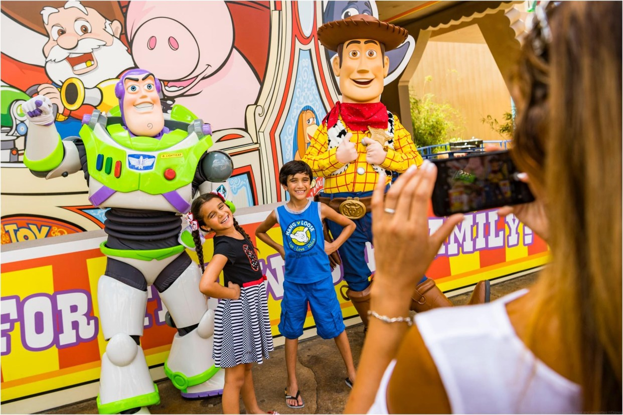 Beloved characters from Pixar Animation Studios' Toy Story films, including Buzz Lightyear and Woody, await guests who visit Toy Story Land at Disney's Hollywood Studios. The 11-acre land transports Walt Disney World guests into the adventurous outdoors of Andy's backyard, where they will feel like they are the size of a toy. (Matt Stroshane, photographer)