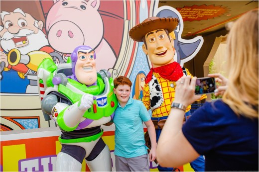 Beloved characters from Pixar Animation Studios' Toy Story films, including Buzz Lightyear and Woody, await guests who visit Toy Story Land at Disney's Hollywood Studios. The 11-acre land transports Walt Disney World guests into the adventurous outdoors of Andy's backyard, where they will feel like they are the size of a toy. (Steven Diaz, photographer)