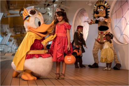 Disney Cruise Line will treat guests sailing this fall to a wickedly good time as the Disney ships transform into a ghoulish wonderland during Halloween on the High Seas cruises. This extra-spooky celebration features Halloween-themed parties, lively entertainment, elaborate décor, and frightfully fun events and activities. (Kent Phillips, photographer)