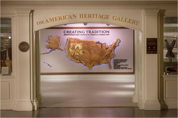 "The Walt Disney World gallery exhibition ""Creating Tradition: Innovation and Change in American Indian Art"" in The American Adventure pavilion at Epcot showcases the work of contemporary Native artists alongside artifacts from centuries past. The pieces demonstrate how ancestral American Indian craftsmanship influences modern generations of Native artists. The exhibition features items on loan from the Smithsonian's National Museum of the American Indian, the Museum of Indian Arts and Culture, the Seminole tribe, the Potawatomi tribe and Richard Hammel. (Kent Phillips, photographer)"