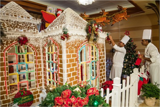 Holidays are magical aboard the Disney Dream where a giant gingerbread house fills the air with delicious smells and holiday cheer. During Very Merrytime Cruises, each Disney Cruise Line ship boasts its own oversized gingerbread house, handcrafted by the crew and decked in Disney-themed décor. (Matt Stroshane, photographer)