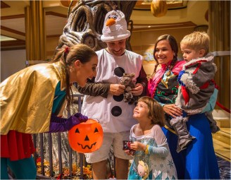 Disney Cruise Line will treat guests sailing this fall to a wickedly good time as the Disney ships transform into a ghoulish wonderland during Halloween on the High Seas cruises. This extra-spooky celebration features Mickey's Mouse-Querade Party, where guests join Disney characters in their best costumes in the atrium lobby for a frighteningly fun dance party with trick-or-treating. (Matt Stroshane, photographer)