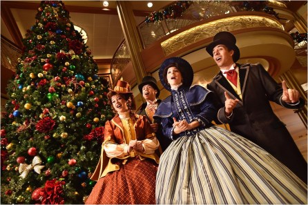 Dickens-inspired carolers carry the spirit of the holidays throughout each ship while singing holiday classics during Very Merrytime Cruises. (Chloe Rice, photographer)