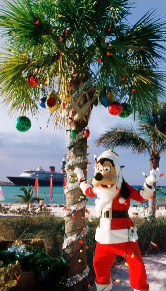 "The holidays take on a tropical flair at Disney's private island in the Bahamas, Castaway Cay, with ""snow flurries,"" a decked-out Christmas tree, Disney character meet-and-greets and holiday island music. (Disney)"