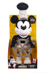Licensee: Just Play MSRP: $24.99 Description: Celebrate 90 years of Mickey Mouse with the Disney Mickey's 90th Anniversary Steamboat Willie Plush! Steamboat Willie Mickey is a classic to treasure, featuring super soft fabrics and exceptional character detail. Just like in the iconic Steamboat Willie short dating back to 1928, Mickey appears in black & white and is dressed in the signature Steamboat Willie outfit with matching Captain's hat. He even holds a felt ship wheel in his hands and sways along to the Steamboat Willie song with a press of his hand! Steamboat Willie Mickey is the perfect gift for kids as well as collectors, who will especially love the distinctive packaging, which showcases Mickey in the iconic Steamboat Willie art style. Requires 3 x AA batteries. Availability: 8/20 Retailer: Target
