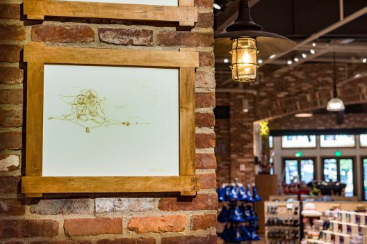 Sketches of beloved Disney characters magically come to life inside the newly reimagined World of Disney store at Disney Springs at Walt Disney World Resort in Lake Buena Vista, Fla. The store held an official grand reopening Oct. 27, 2018. (Matt Stroshane, photographer)