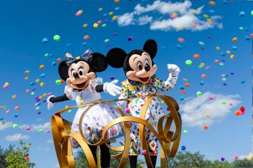 Mickey Mouse and Minnie Mouse don new outfits bursting with color to commemorate 90 years of magic in celebrations across Disney Parks. Beginning in January 2019 at the Disneyland Resort in Anaheim, Calif., guests are invited to Get Your Ears On Ð A Mickey and Minnie Celebration. The special party will feature new entertainment and dŽcor at Disneyland park, plus limited-time food and beverage offerings and festive merchandise available throughout the resort. (Disney)
