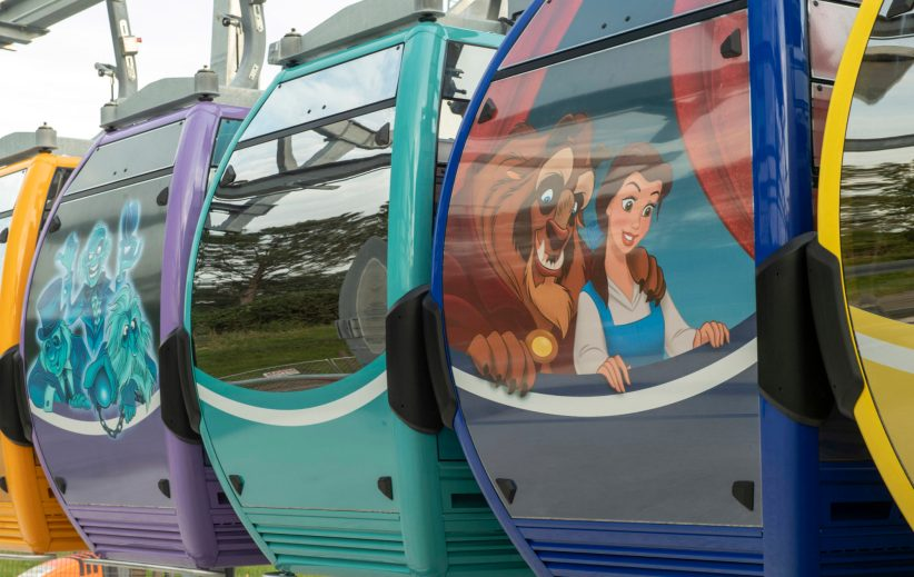 Walt Disney World Resort unveils 64 stunning Disney Skyliner gondolas, including several with graphics based on Disney films, attractions and characters, May 9, 2019, at Disney's Hollywood Studios in Lake Buena Vista, Fla. The reveal is a milestone for Disney Skyliner in preparation for it's opening this fall when guests will be whisked between Epcot, Disney's Hollywood Studios and four Disney resort hotels. (Kent Phillips, photographer)