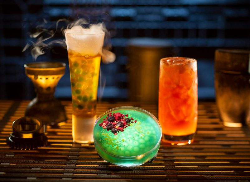 Guests will discover innovative and creative concoctions from around the galaxy at Star Wars: Galaxy's Edge at Disneyland Park in Anaheim, California, and at Disney's Hollywood Studios in Lake Buena Vista, Florida. Left to right, non-alcoholic drinks: Carbon Freeze, Oga's Obsession provision and Cliff Dweller can be found at Oga's Cantina. (Kent Phillips/Disney Parks)