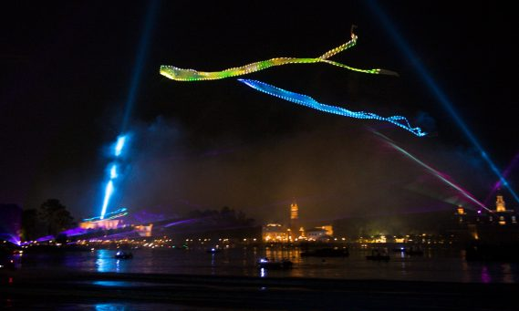 """New nighttime spectacular """"Epcot Forever"""" debuts Oct. 1, 2019, above Epcot's World Showcase Lagoon at Walt Disney World Resort in Lake Buena Vista, Fla. The show celebrates the past, present and future of the theme park with fireworks, lasers, colorful glowing kites and Epcot music. (David Roark, photographer)"""