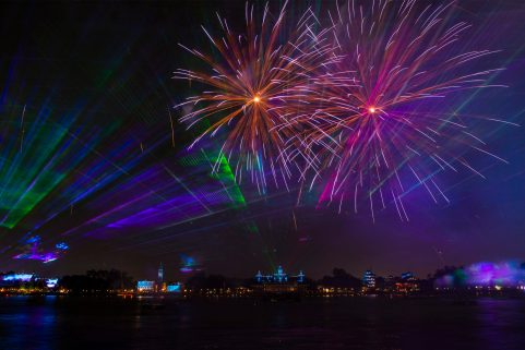 "New nighttime spectacular ""Epcot Forever"" debuts Oct. 1, 2019, above Epcot's World Showcase Lagoon at Walt Disney World Resort in Lake Buena Vista, Fla. The show celebrates the past, present and future of the theme park with fireworks, lasers, colorful glowing kites and Epcot music. (David Roark, photographer)"