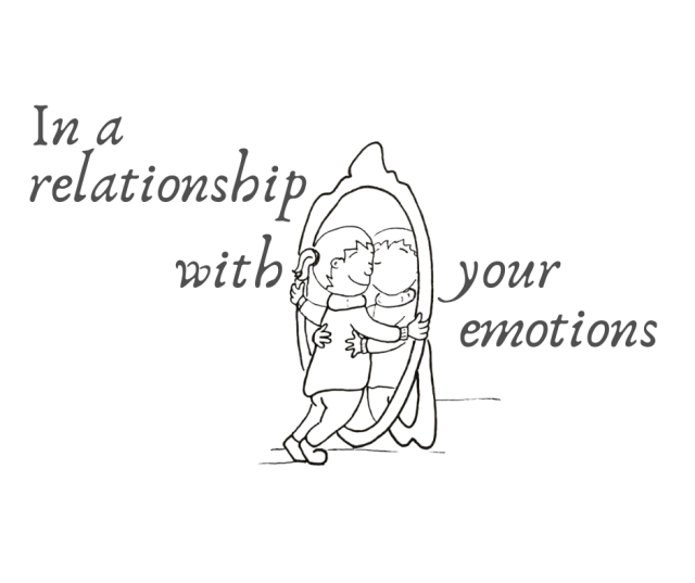 Relationships illustration - person hugging reflection in the mirror