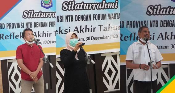 Dari kanan: Ketua Forum Wartawan DPRD NTB-Fahrul Mustofa, Ketua DPRD NTB - Hj. Baiq Isvie Rupaeda, S.H., M.H., Sekretaris DPRD NTB - H. Mahdi, S.H., M.H. (foto by ihin)