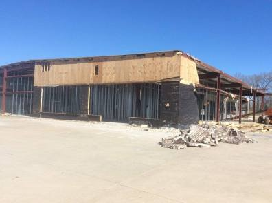 Demoing the front of the building