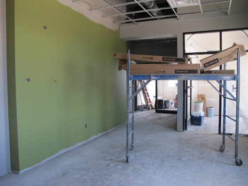The ceiling is going up in the reception area