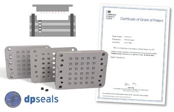 DP Seals' UK Patent certificate and custom moulding