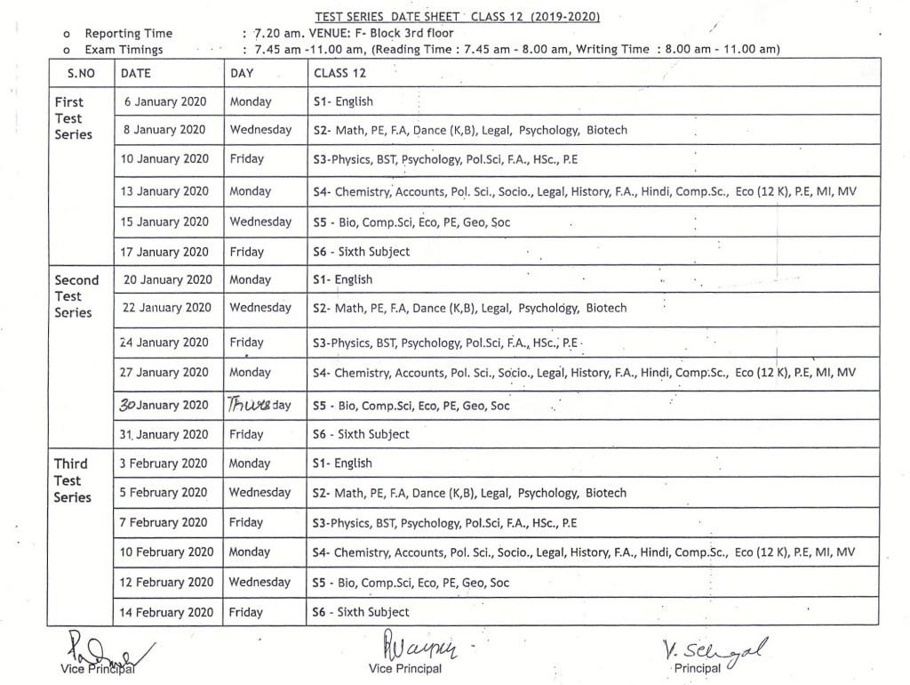 Class XII Test Series Date Sheet (2019-20)