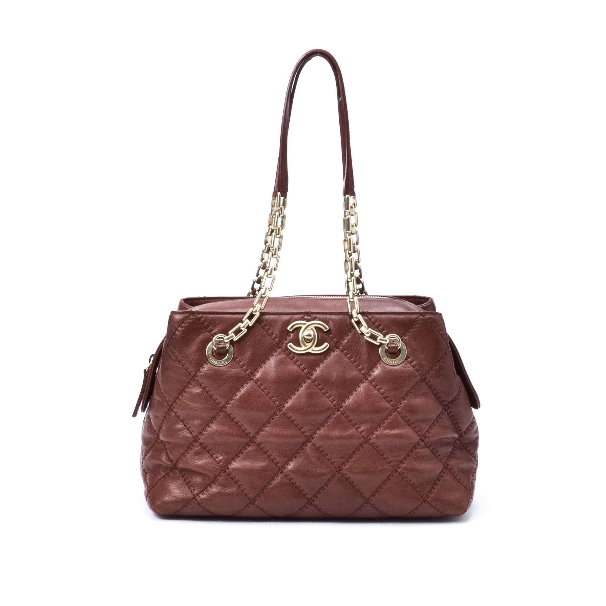 Buy Brown Leather Chanel Tote At Lxr Amp Co