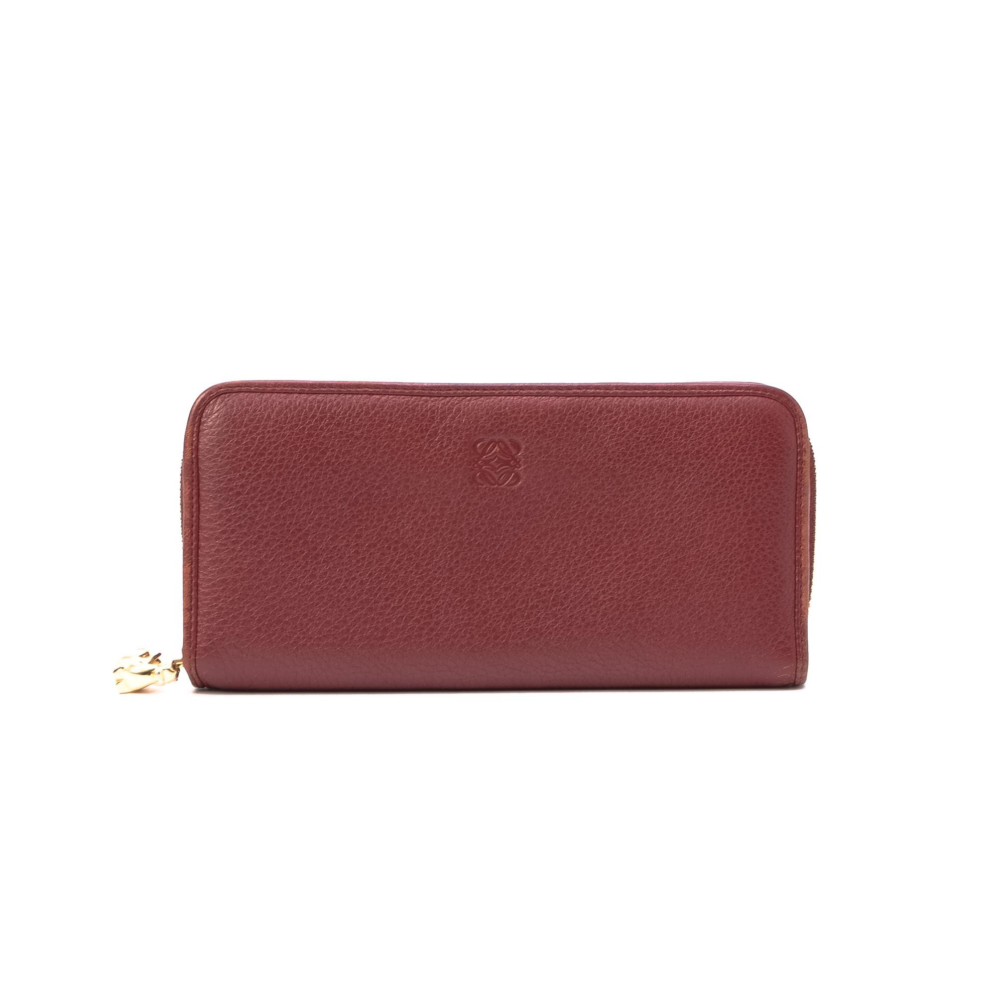 Loewe Zipp Around Wallet Bordeaux Leather Wallet