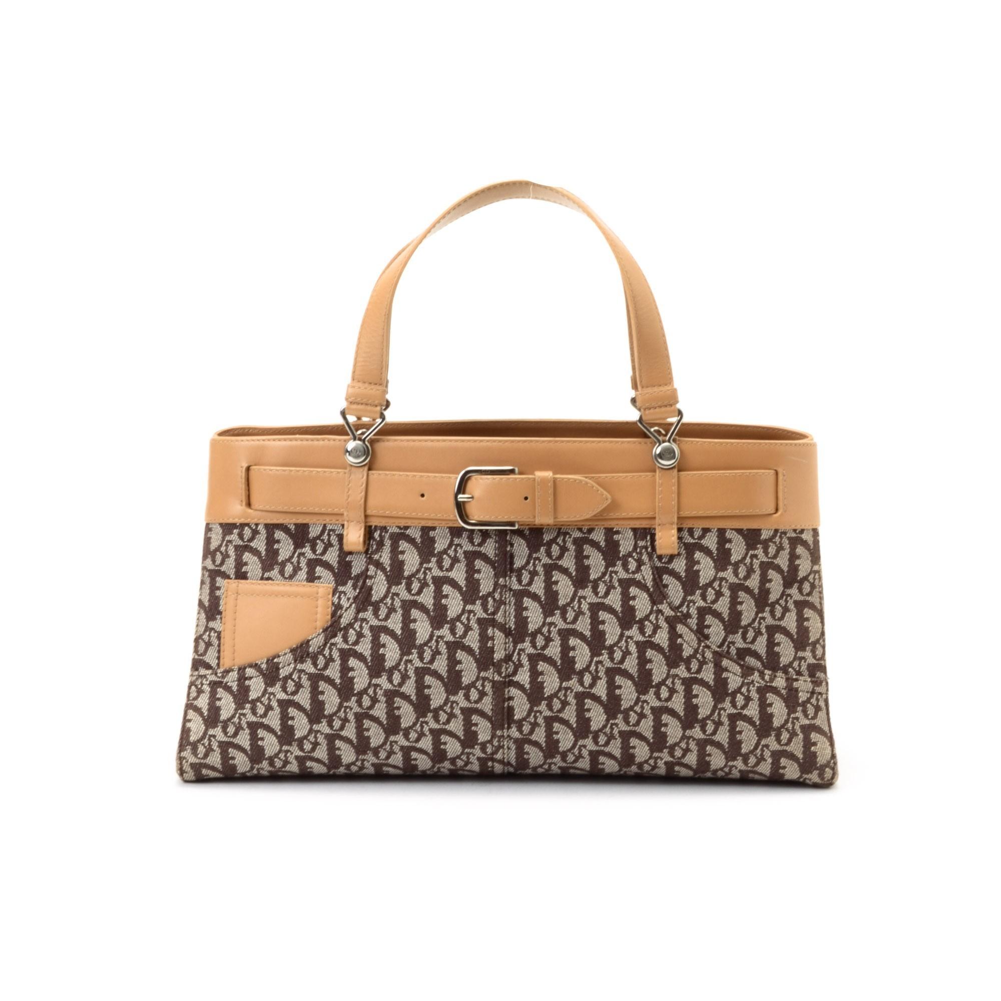 Buy Brown Canvas Dior Handbag At Lxr Amp Co
