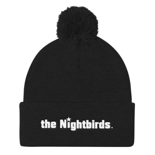 Pom Pom Knit Cap with the Nightbirds Logo in White Embroidery, Multiple Colors Available 00004