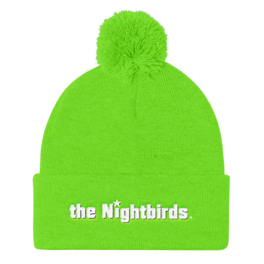 Pom Pom Knit Cap with the Nightbirds Logo in White Embroidery, Multiple Colors Available