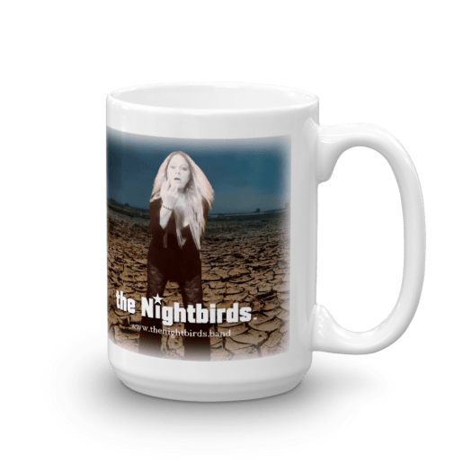 Coals of Fire White Ceramic Mug with the Nightbirds Logo Featuring Robin Gibson