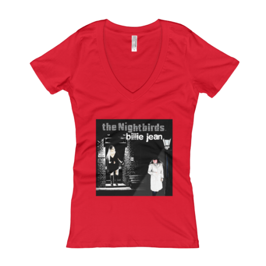 """the Nightbirds """"Billie Jean"""" Theme Women's V-Neck T-shirt"""