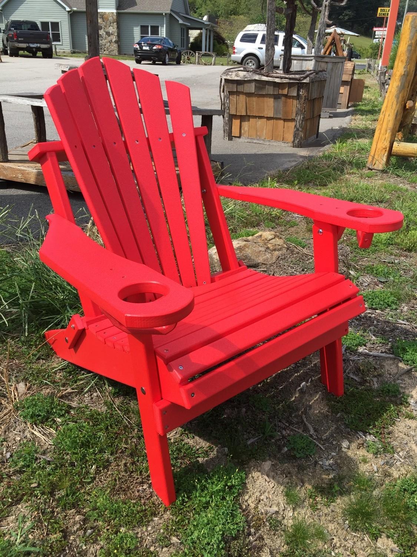 Folding Adirondack Chair Fan Back W Cup Holders