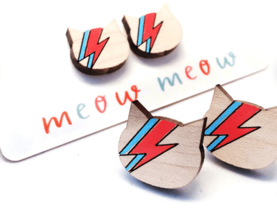 Ziggy Wooden Stud Earrings by Blossom and Cat