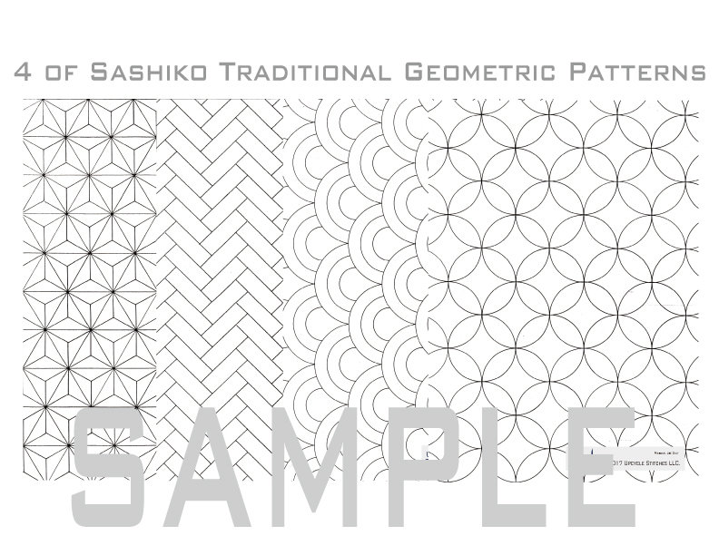 Sashiko Patterns / Letter Size Download Material in PDF. PDF_001TRA