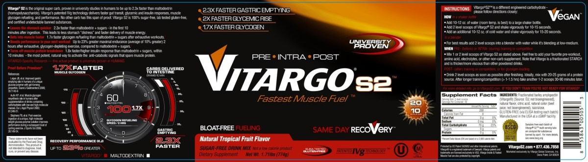 VitargoS2 10 Serving Natural Tropical Fruit Flavor