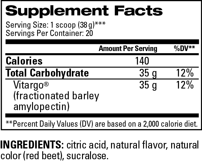 Fruit Punch Supplement Facts 20 Scoops