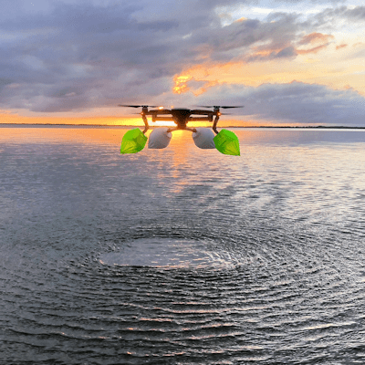 DJI Mavic Pro/Platinum Float Kit with Green and Red colored 3d printed soft floats. MPKSF