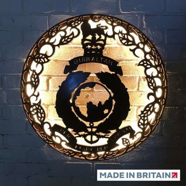 Illuminated Wall Mount - Royal Marines Globe & Laurel 725mm