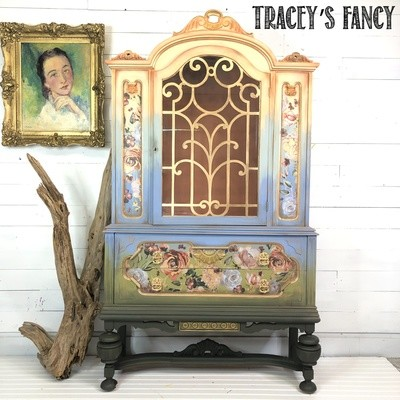 Floral Ombre China Hutch