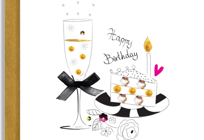 Happy Birthday Cake Champagne Handmade Greeting Card