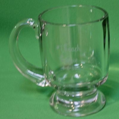 Large Heavy Inscribed Glass Coffee Mug With Pedestal Base And Handle