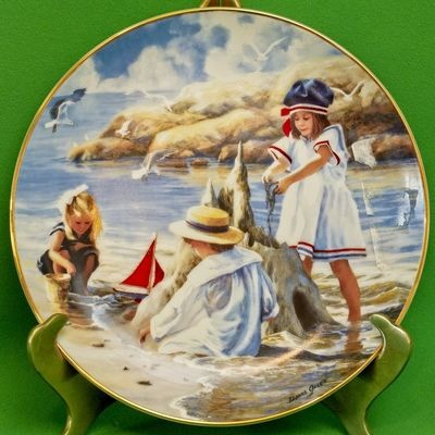 1992 Hamilton Collection Collector Plate, Children's Day By The Sea, Donna Green