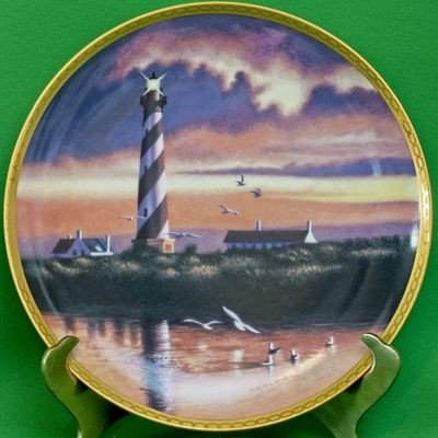 1990 Hamilton Collection Collector Plate, Cape Hatteras Light, Howard Koslow