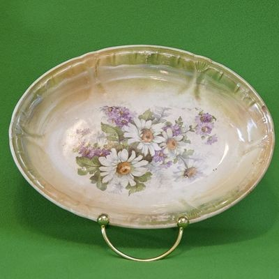 Antique (1885-1920) Franz Anton Mehlem Bonn Germany Oval Candy Dish
