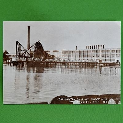 Vintage 5 X 7 Unused Postcard, 1920 Photo, Pulp & Paper Mill, Port Angeles, WA