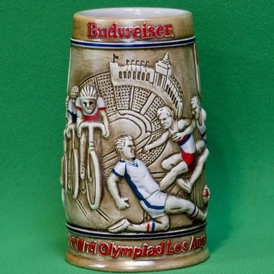 Large Ceramic Budweiser Stein, 1984 Los Angeles Olympic Games