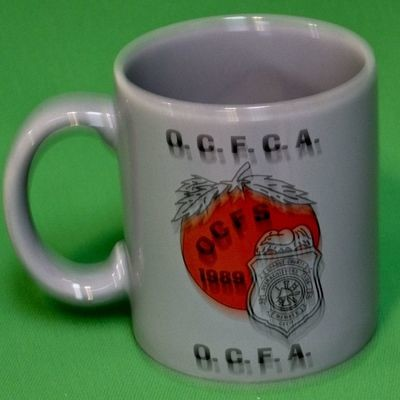 Vintage 1989 Orange County Overachievers Club Gray Left-Handed Coffee Mug