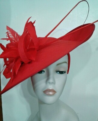 SS/ Red Large Disc Feather Fascinator